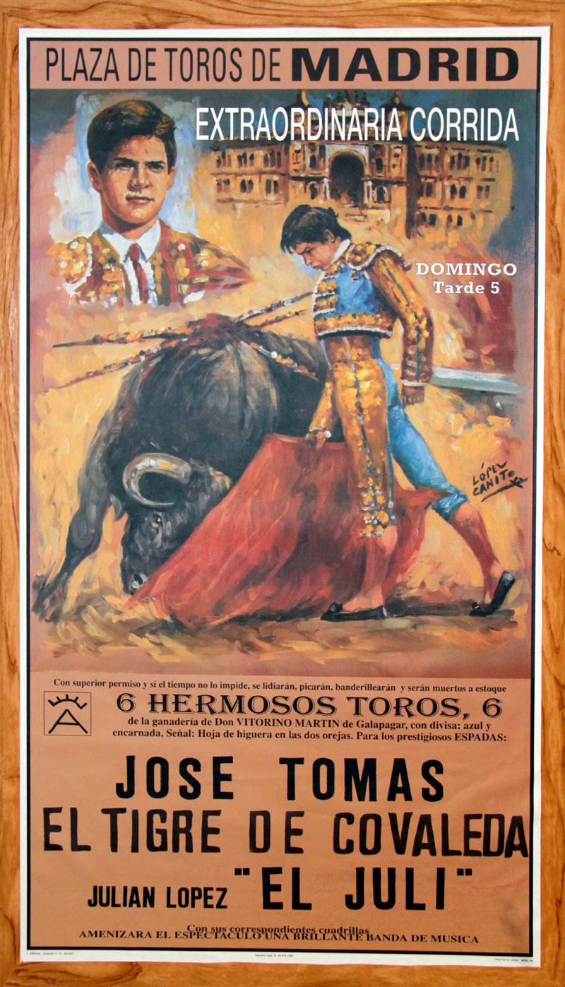 Cartel taurino, con el Tigre de Covaleda en la terna de matadores, junto a José Tomás y El Juli