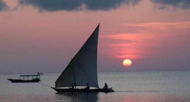 Dhow en las costas de Zanzíbar