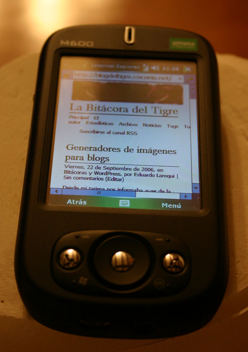 La Bitácora del Tigre en una PDA