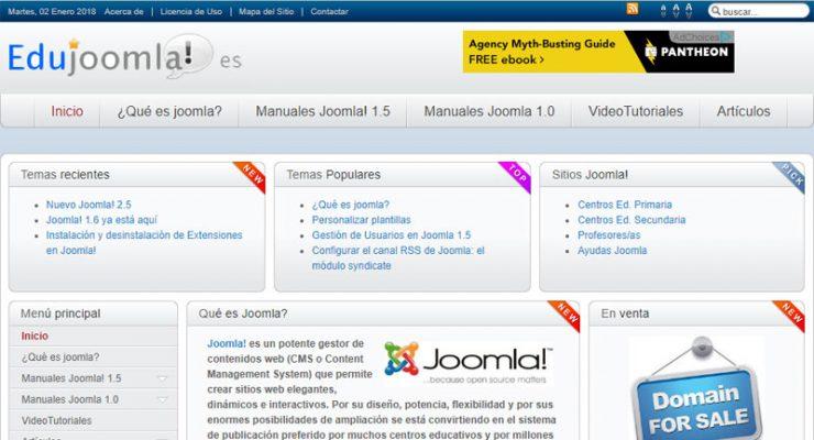 Captura de pantalla del portal EduJoomla