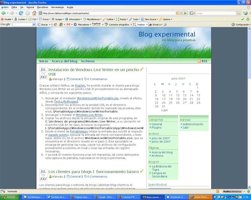 Captura de pantalla de una entrada publicada desde el cliente para blogs Windows Live Writer, instalado en una llave USB