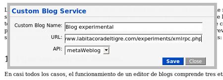 Figura 4: definición de la conexión al blog, 2