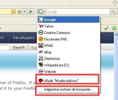 Figura 1 - Adición de complementos de búsqueda de Firefox