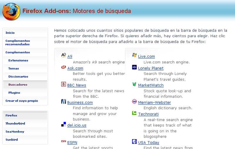 Figura 3 - Página web de los complementos de Firefox