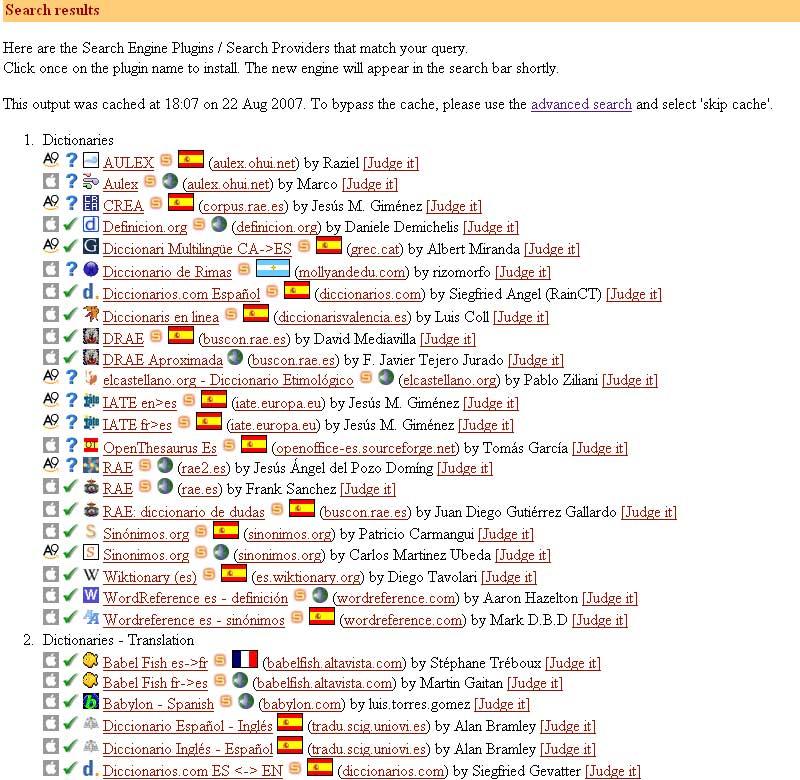 Figura 6 - Resultados de plugins relacionados con diccionarios y traductores