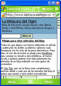 Una entrada de La Bitácora del Tigre en la PDA