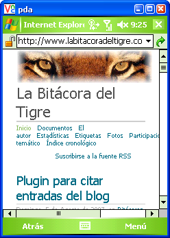 Portada de La Bitácora del Tigre en la PDA