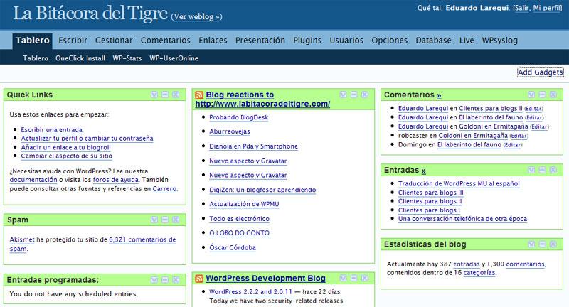 Aspecto del escritorio de WordPress tras la instalación del plugin MyDashboard