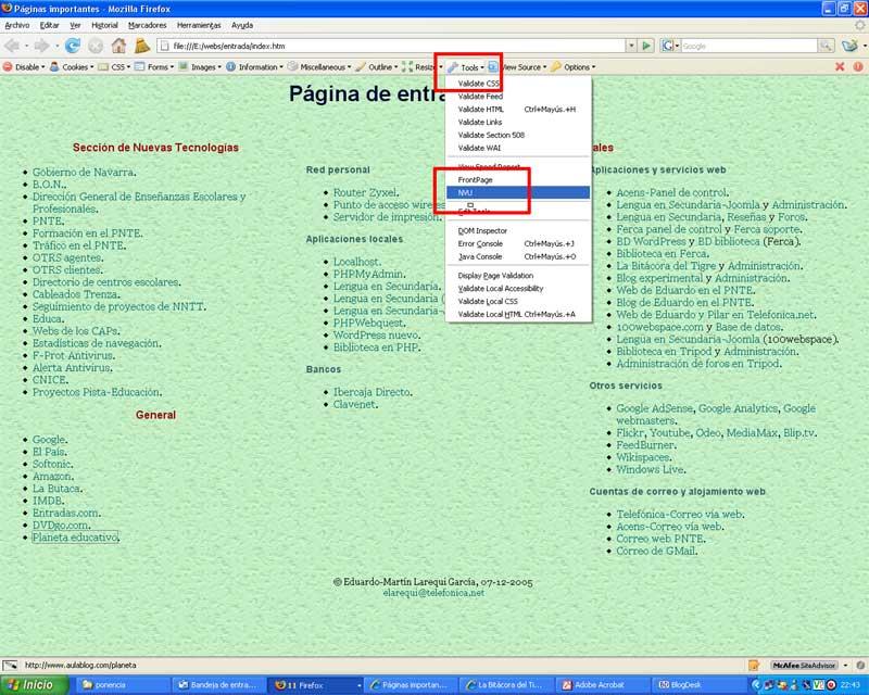 Figura 1 - Ejemplo de página de inicio creada con un editor HTML