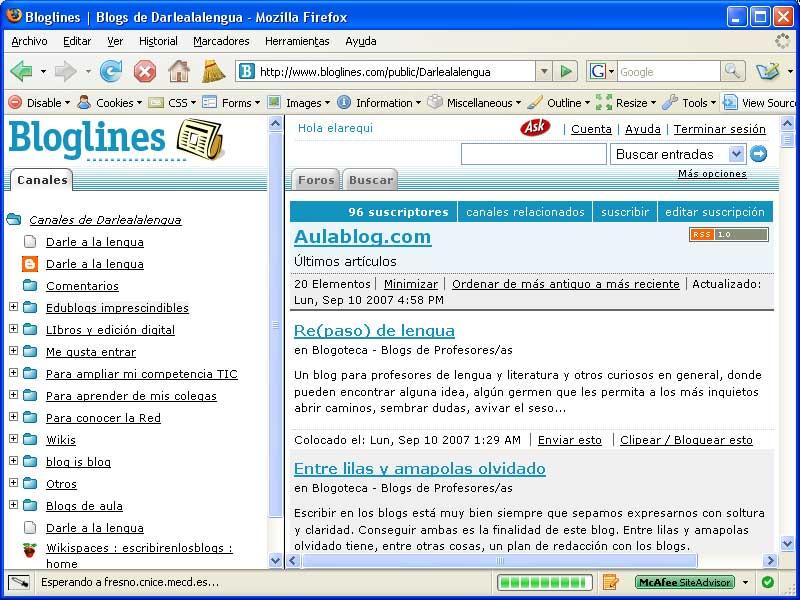 Figura 2 - Ejemplo de página de inicio creada con Bloglines