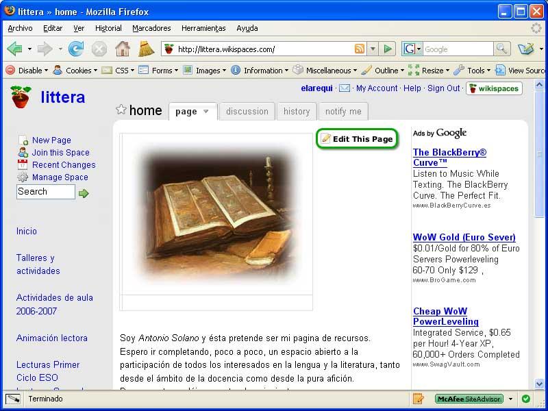 Figura 3 - Ejemplo de un wiki de recursos de área