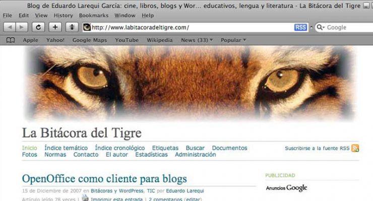 Figura 1 - Página principal de La Bitácora del Tigre, en Safari