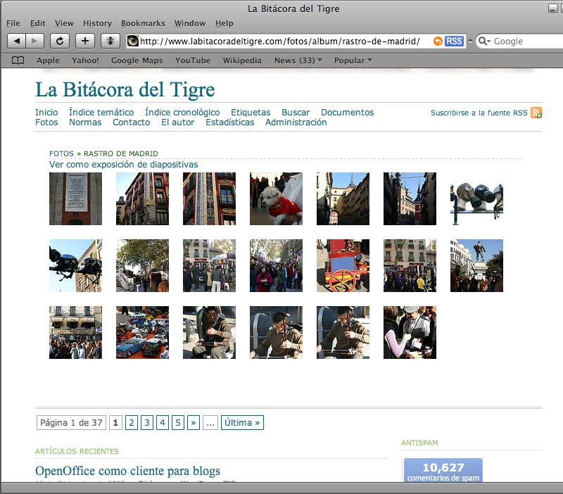 Figura 2 - Galería de fotos de La Bitácora del Tigre, en Safari