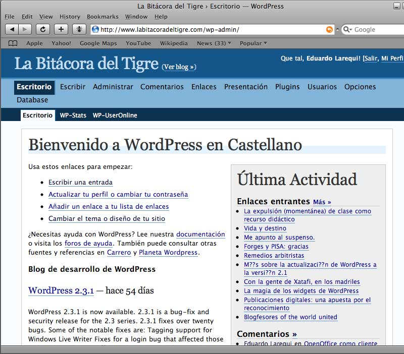 Figura 3 - Página de administración de La Bitácora del Tigre, en Safari