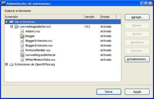 Figura 1 - Administración de extensiones de OpenOffice