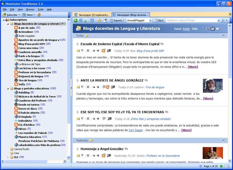 Captura de pantalla del lector de fuentes RSS FeedDemon