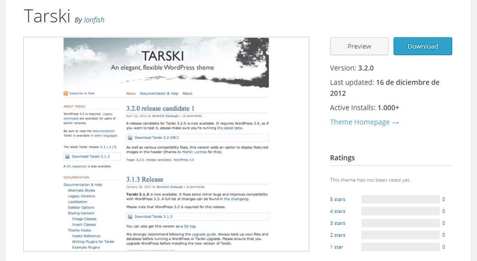 El tema Tarski en el repositorio oficial de temas de WordPress