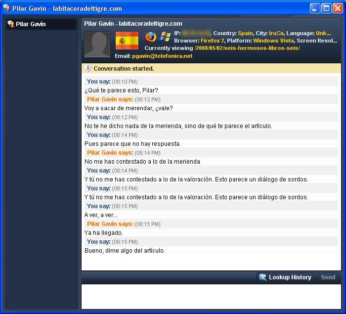 Figura 5 - Chat en vivo de Woopra