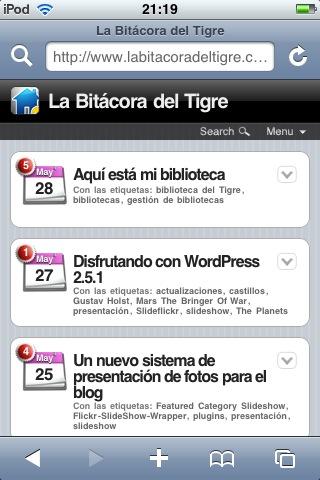 Figura 1: página principal del blog con el plugin WPtouch iPhone Theme