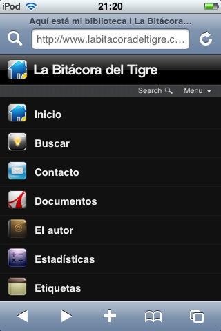 Figura 4: vista de categorías con el plugin WPtouch iPhone Theme
