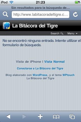 Figura 5: activación/desactivación del tema con el plugin WPtouch iPhone Theme