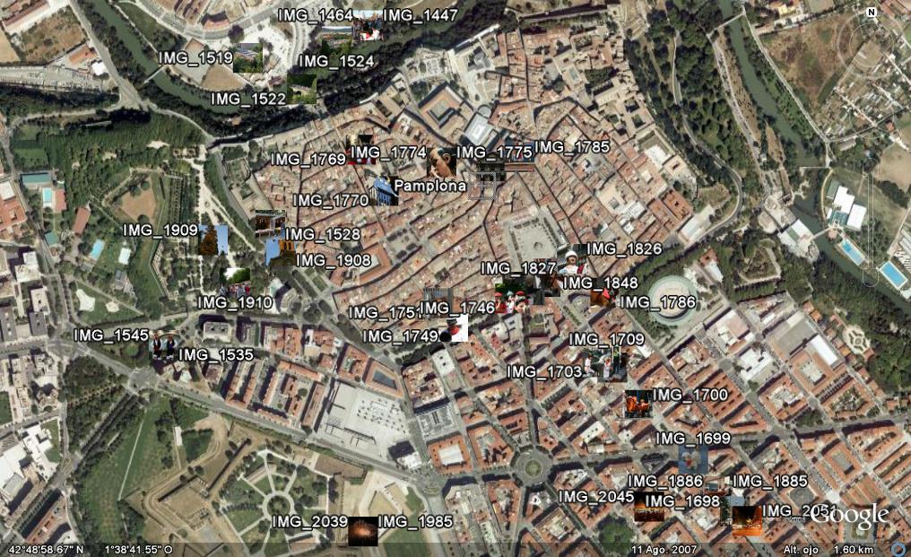 Figura 2 - Mapa en Google Earth de las fotos de Sanfermines de Eduardo Larequi