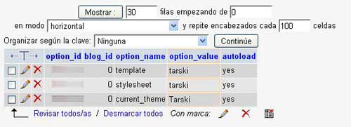 Figura 1 - Valores relacionados con el tema del blog en la tabla wp_options