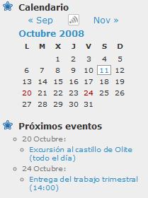 Figura 2: widget del plugin de eventos