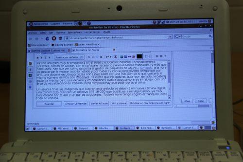 La ventana de edición de ScribeFire en el ultraportátil