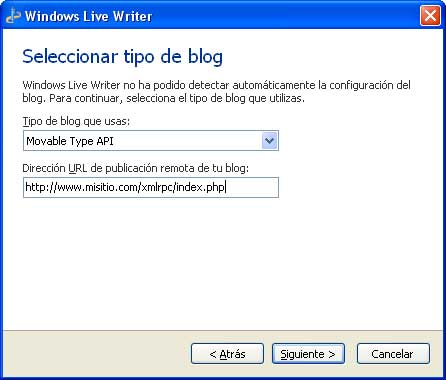 Figura 3 – Selección del tipo de blog