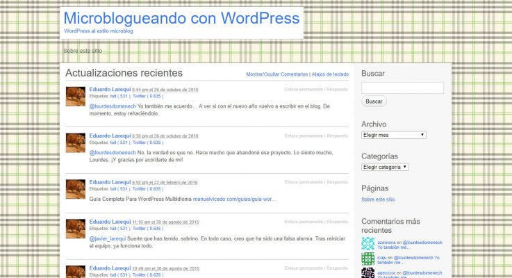Tema P2 para microbloguear en WordPress