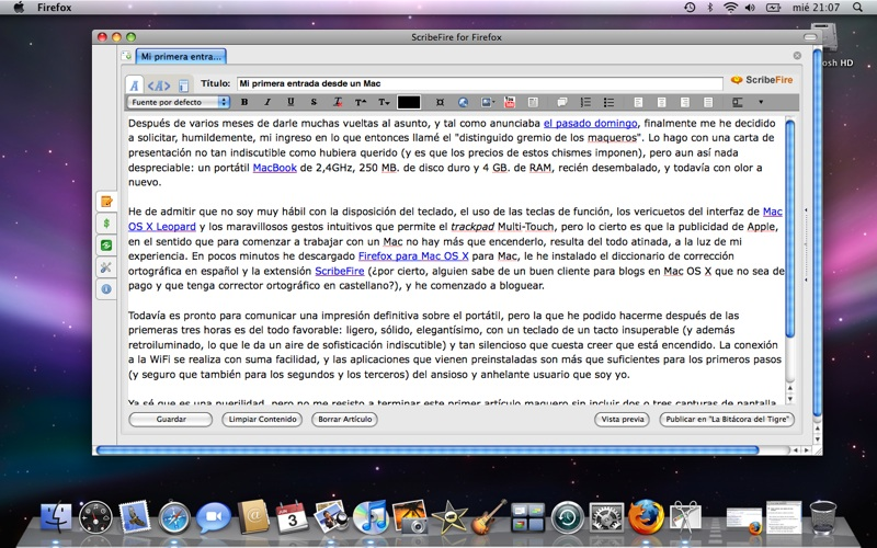 Figura 2 - ScribeFire para Firefox en MacBook