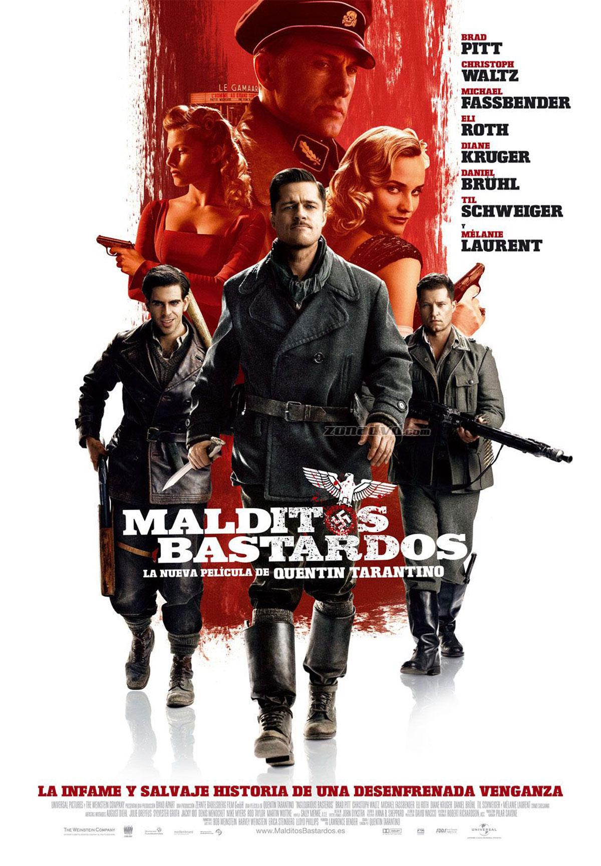 Cartel de la película Malditos bastardos, de Quentin Tarantino