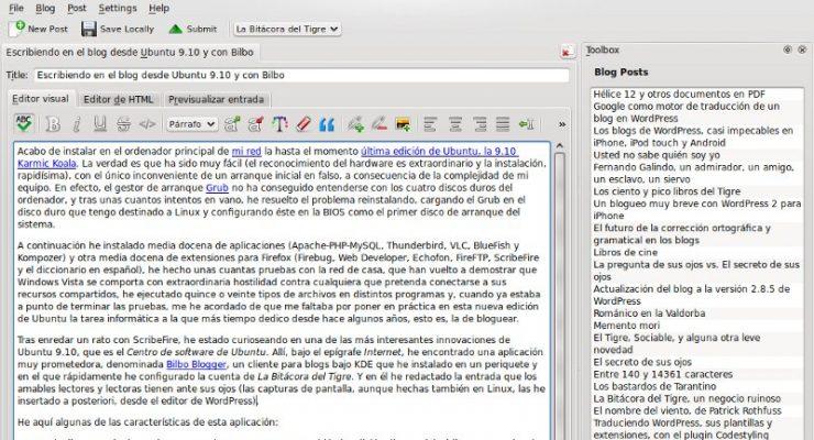 Escribiendo en el blog desde Ubuntu 9.10 y con Bilbo