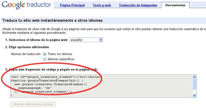 Figura 2 - Selección del código de Google Traductor
