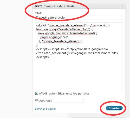 Figura 3 - Creación de un widget de texto con el código de Google Traductor