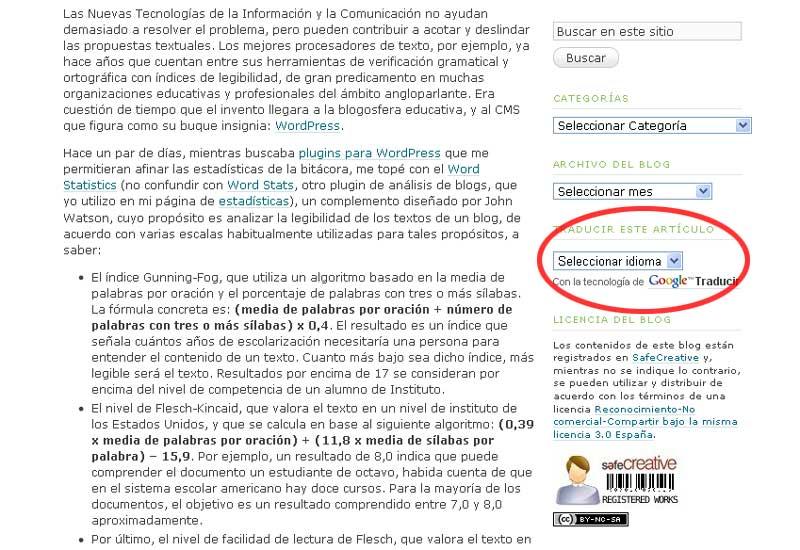 Figura 4 - El widget de traducción en la barra lateral