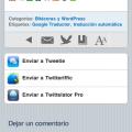 Envío a aplicaciones relacionadas con Twitter