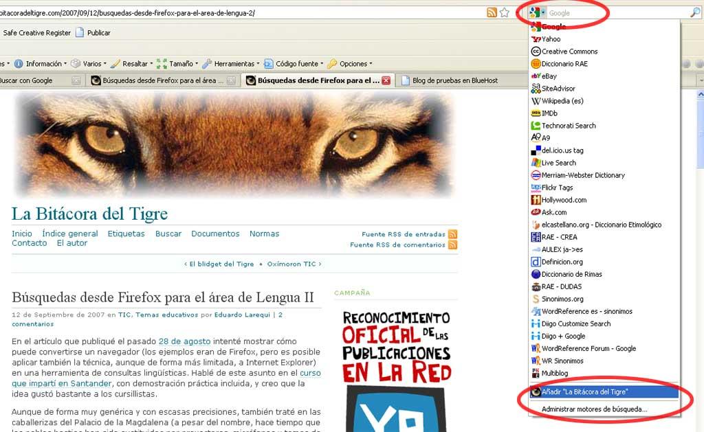 Figura 1 - Añadir un motor de búsqueda en Firefox