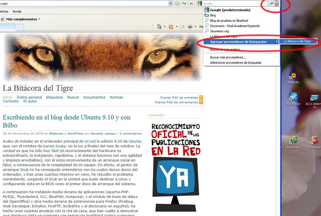 Figura 2 - Añadir un motor de búsqueda en Internet Explorer
