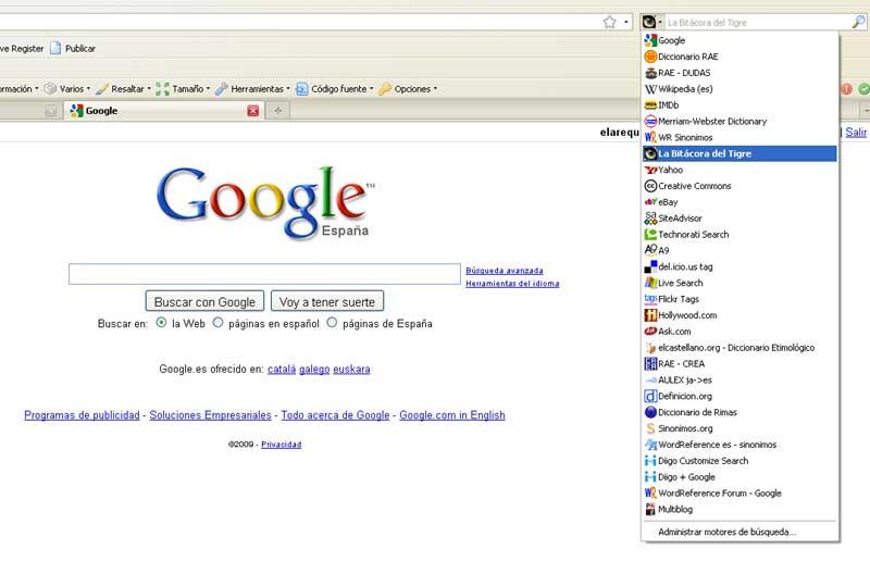 Figura 3 - El motor de búsqueda añadido a Firefox