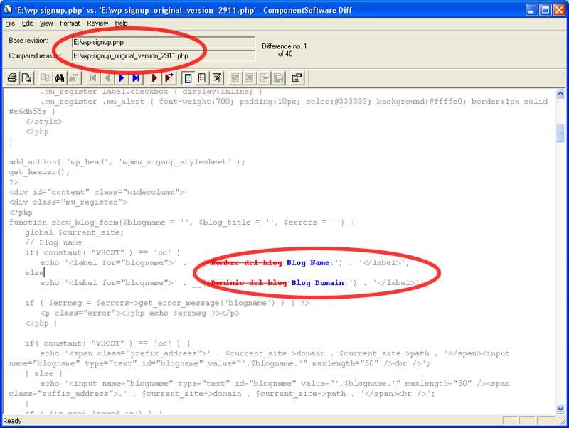 Figura 5 - Comparación de dos versiones de un archivo en CSDiff