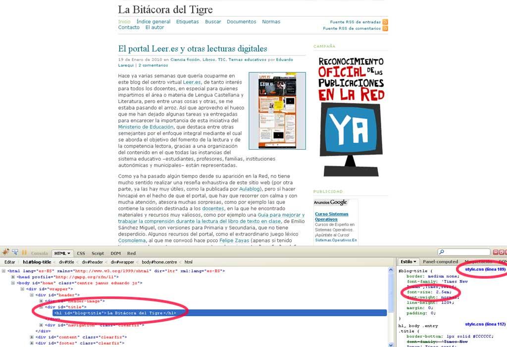 Figura 2 - Código HTML y CSS en Firebug
