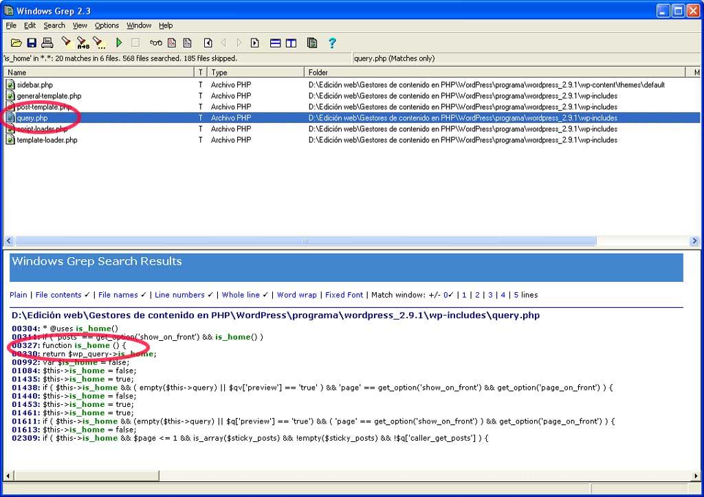 Figura 3 - Resultados de búsqueda en Windows Grep