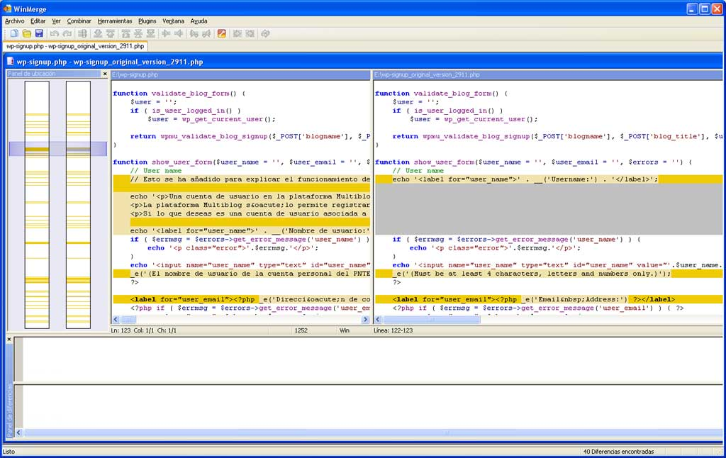 Figura 6 - Comparación de dos versiones de un archivo en WinMerge