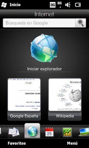 Figura 1 – El navegador web en el HTC HD2