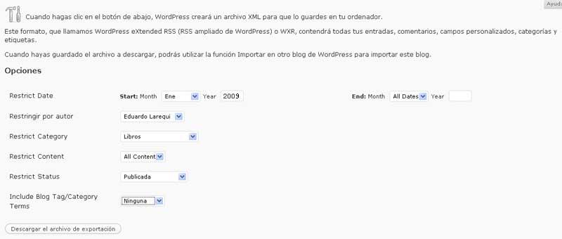 Figura 1 – Exportador avanzado de WordPress