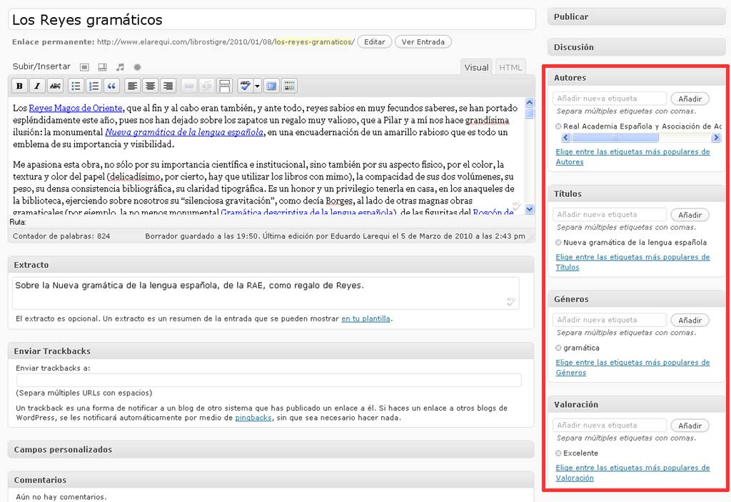 Figura 11 – El editor de WordPress, sólo con las taxonomías personalizadas