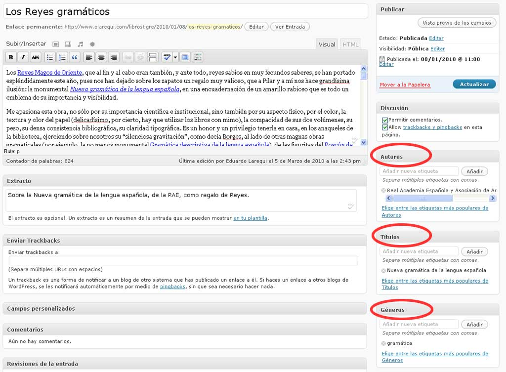 Figura 2 – Campos correspondientes a las taxonomías personalizadas en el editor del blog