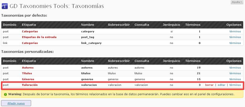 Figura 7 – Administración de taxonomías con el plugin GD Taxonomies Tool
